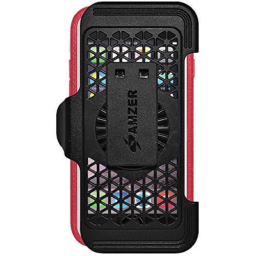 Amzer Crusta edge2edge Case/Schutzhülle, mit Tischplatte aus gehärtetem Glas und Holster (für iPhone 6Plus schwarz/grau) Black/Grey/Red/White