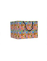 A&A Printed Laminated Paper Bag (Pack Of 10) Size- 6 * 9 * 7 Inch