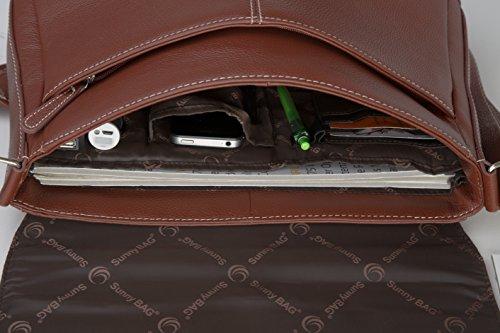 SunnyBAG Business Executive+ Solartasche mit 3,6 Watt Solarpanel für 13 Zoll Notebook, Businesstasche, Umhängetasche, Aktentasche, Notebook-Tasche, Laptop-Tasche, aus Leder, braun braun, 3,6 Watt