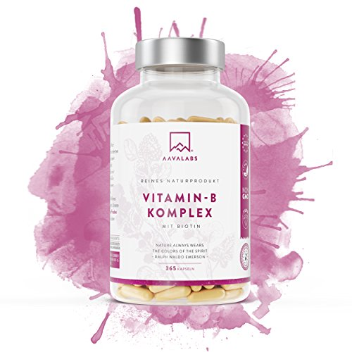 Vitamin B Komplex mit Biotin und Vitamin b12 - 365 Stück von Aava Labs - mit Vitamin B1 , B2 , B3 , B5 , B6 , B7 und B9 - Unterstützt das Wohlbefinden - Nordische Reinheit: Frei von Zusatzstoffen, 100% Vegan und glutenfrei - Labor Geprüft - Hergestellt in der EU.