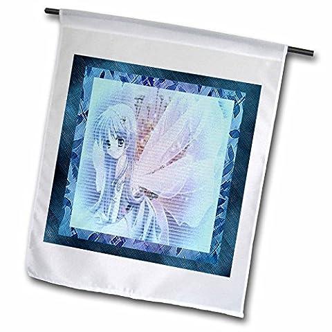 3dRose fl_14822_1 Blue Anime Angel Garden Flag, 12 by 18-Inch