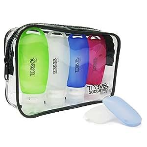 Bottiglie di Accessi di Viaggio (4) + CASO DI TOSCANA (2) + PORTAFOGLIO TSA Approvato (Verde/Blu / Rosa/Bianco, 4-Pack)