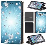 CoverFix Premium Hülle für Samsung Galaxy S5 Mini G800 Flip Cover Schutzhülle Kunstleder Flip Case Motiv (721 Sterne Stars Weiß Blau)