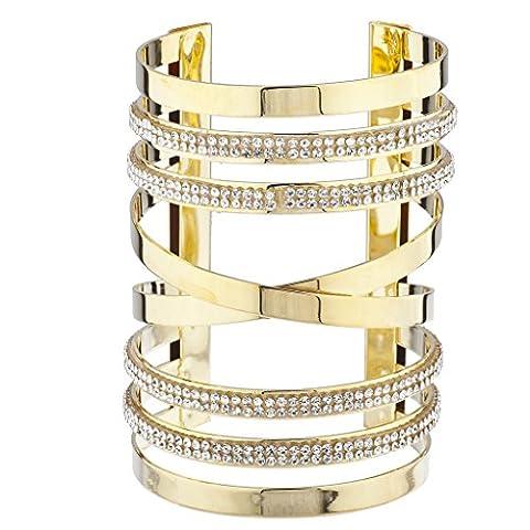 Lux Accessoires Doré et autocollant Pierre Pave X Cross Découpe Bracelet manchette