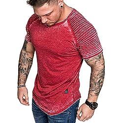 Camisetas Cuello Redondo,YanHoo Camisetas Hombre Manga Corta Camisetas Elástica de Fitness Top Gym Camisas de Hombre Verano Camisas Hombre Manga Corta Camisa