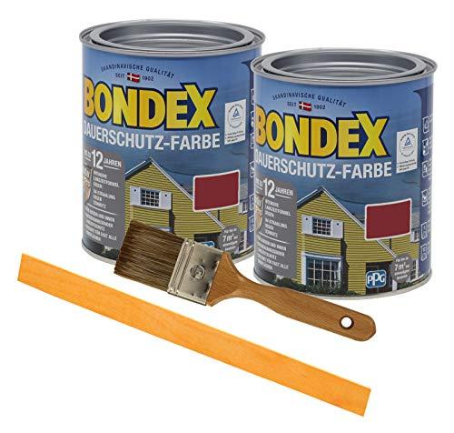 Bondex Dauerschutzfarbe deckend 2 x 0,75l Wetterschutzfarbe Holzschutzfarbe Holzfarbe bis zu 12 Jahre wetterbeständig für Holz und Zink Außen inkl. Pinsel und Rührstab (schwedenrot)