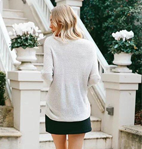 YAANCUN Donna Moda Manica Lunga Collo A V Pullover Maglione Crossover Jumper,Taglia Unica Beige