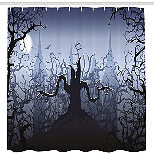 KYCD Halloween Dekorationen Duschvorhang, Finsternis in Wald wirbelnden Spooky Zweige Art Trick oder Festlichkeit, Stoff Badezimmer eingerichtet mit Haken, Grau Schwarz 72