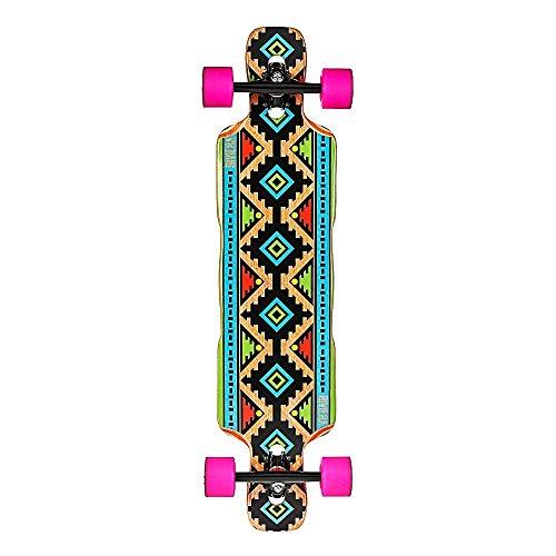 Riviera Dineh komplett DROP Thru, Longboard mit Multi Farbe Grafiken, Naturholz, 22,2x 94cm (Riviera Longboards)