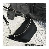 HAOLIEQUAN Modekette Pu Lychee Leder Bauchtasche Gürteltasche Wasserdicht Diebstahl Frauen Walking Shopping Bauchband Gürteltasche, Schwarz