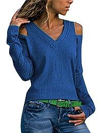 QinMM Mujeres Suéter Pure Color Cuello en V Camiseta Casual Top Mujer Jersey de Punto Blusa