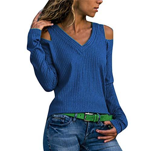 Manadlian Camisas Mujer, Top Casual Mujer con Cuello En V Color Puro Suéter de Manga Larga para Mujer Camiseta Blusa