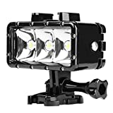 D & F étanche Plongée LED lumière Variateur d'intensité pour Lampe Torche intégrée 1200 mAh Batterie Rechargeable étanche 40 m pour GoPro Hero 6/5/4/3+/3 SJCAM, Yi Caméra d'action et d'autres