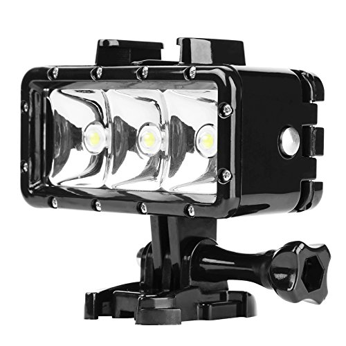 Galleria fotografica D&F impermeabile LED Diving Luce Regolabile Torcia Suit 1200mAh batteria ricaricabile integrata 40 m subacquea per GoPro Hero 6/5/4/3, SJCAM, Yi e Altre Action Camera