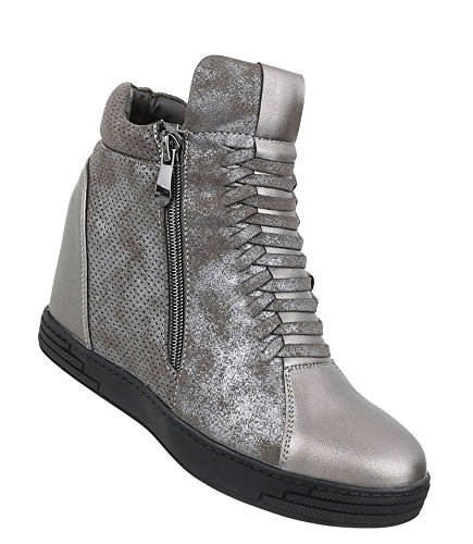 Schuhcity24 Damen Sneakers Keilabsatz | Sneaker Wedges | Keilabsatz Schuhe | Wedge Sportschuhe | Basketball Style | Metallic Sneaker Versteckter Keilabsatz Silber 40 (Wedge Boot Mini)
