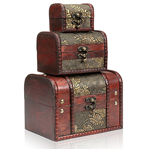 H&S® Set of 3 Wooden Vintage Treasure Chest Jewellery Storage Wood Box Case Organiser Ring Necklace Bracelet