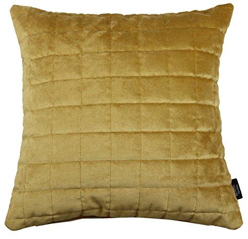 McAlister Textiles Luxury Kollektion | Gesteppter Samt Kissenbezug Quadratmuster 50cm x 50cm in Ocker Gold | Deko Kissenhülle für Sofa Couch Bett -