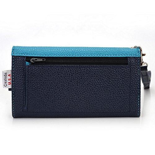 Kroo Pochette Téléphone universel Femme Portefeuille en cuir PU avec dragonne compatible avec Xperia M4Aqua/Sony Xperia E4 Multicolore - Blue and Red Bleu - bleu