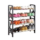 4 Tier Schuhregal Schwarz Kunststoff Stapelbar Erweiterbar Lagerung Ständer Für Stiefel Schuhe Tür Balkon Eingang Ecke Eingangsbereich
