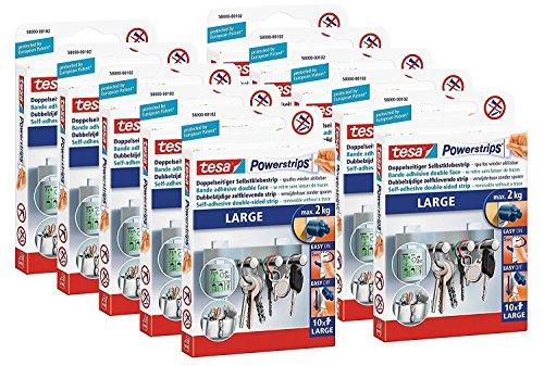 10er Pack tesa Powerstrips Strips LARGE für max. 2kg, Packung mit 10 Strips