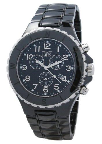 Davis 'XXL Ceramic' Watch, Waterproof, with Chronograph, Black Ceramic Bracelet and Case