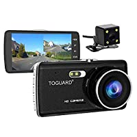 TOGUARD Full HD 1080P Dual Dash Dam 4.0 inch LCD Screen Car Dash Cam DVR, Front Camera and Rear View Cam, 170 Degree Wide Angle with Loop Recording, Parking Monitor, G-sensor, Night Vision