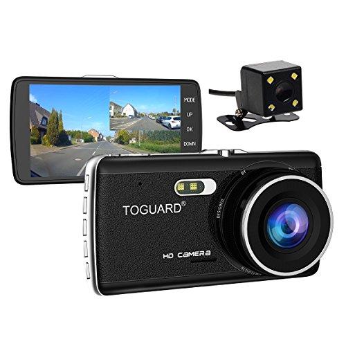 TOGUARD 4.0'' IPS Screen Auto Kamera DashCam Armaturenbrett Kamera Dual Objektiv, Rückfahrkamera, FullHD 1080P H.264, 170° Weitwinkel, WDR, Loop Aufnahme, G-Sensor