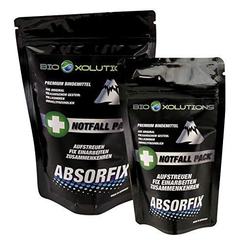 Absorfix Notfallpack fürs Auto | Geruchsentferner und natürliches Bindemittel für alle Flüssigkeiten | Absorbiert Erbrochenes, Urin, Öl, Benzin, Speisereste, Getränke, UVM.(1 x 25g + 1 x 100g)