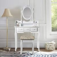LIFE CARVER White Makeup Dressing Table Set With Oval Mirror 5 Drawers Cushion Stool Vanity Girls Gift