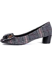 Fang-SDUDIO Zapatos De Mujer, Arco Solo Zapatos, Inglés Viento Y Talones,Negro,37