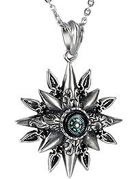 Pendentif Collier Homme Pendentif Fantaisie Boussole Symbole de Mythe  Solaire Fleur Cool Couleur Argent en Acier 4cdfbc034d77