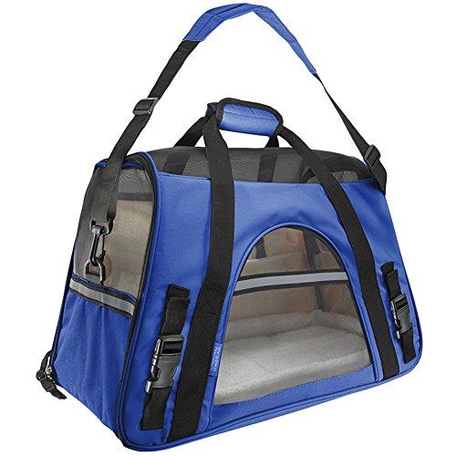 Hundetragetasche Katzentragetasche Haustiertasche Tragetasche Transporttasche Hunde Katzen Tragbar Transportbox Saphirblau L