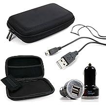 DURAGADGET KIT Estuche / Funda Rígida Para Navegador GPS + Cargador / Adaptador Mechero Coche Doble Con Puerto USB + Cable MiniUSB-USB
