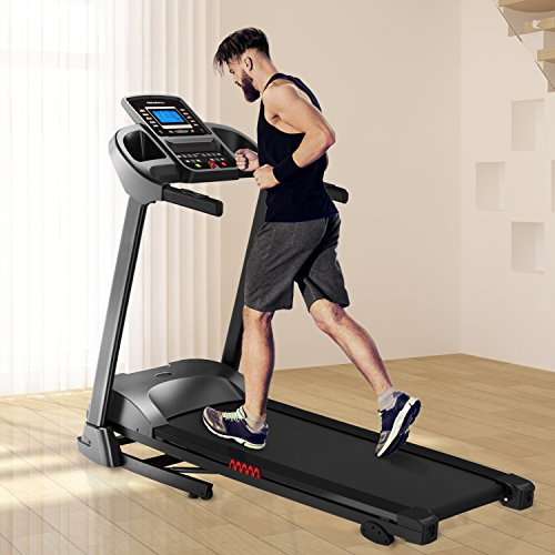AsVIVA T11 Laufband Runner Cardio XI bis zu 18 km/h inkl. MP3-Anschluss und Getränkehalter - Heimtrainer/Fitnessgerät mit Fitnesscomputer, schwarz/grau