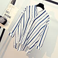 LGK&FA Vertical Striped Shirt Female Loose Student Long Sleeved Shirt S Blue And White Stripes