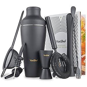 VonShef-Conjunto-de-Coctelera-Parisian-Premium-en-negro-mate-en-caja-de-regalo-con-manual-de-recetas-y-accesorios