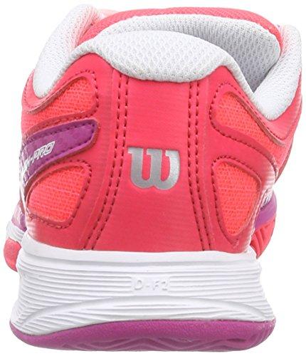 Wilson RUSH PRO JUNIOR, Chaussures de Tennis mixte enfant Rouge