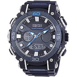 Nautec No Limit Akula AD AK QZ-AD/PCBLPCSLBL-SL Men's Plastic Analogue/Digital Quartz Watch XL