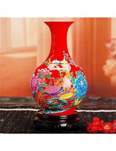 PENFJ Vase Moderne Keramische Gelbe Vasen-Inneneinrichtungs-Rote Porzellan-Blumen-Vasen Mit Blumen Und Vögeln Lotus and Fish Pattern, 11 (Und Gelb Rot Vase)