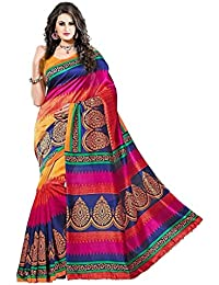 Celeb Styles Women's Lovely Pink And Orange Colored Pure Bhagalpuri Printed Party Wear Saree