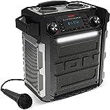 ION Audio Block Rocker Sport - 100Watt Bluetooth Party Lautsprecher / Party Anlage / Musikbox mit wiederaufladbarem Akku, Mikrofon, Radio, LED-Licht, Aux-Eingang, wasserfest nach IPX4