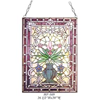 "Gweat HF-169 Pastoral Vintage Tiffany Style Vitral Decorativo Vivid Flower Window Hanging Glass Panel Suncatcher, 26.5""x20"