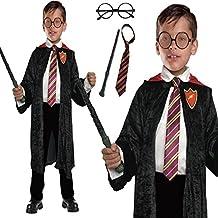 Capa del mago Harry Potter inspiró el juego de 4 piezas del disfraz del niño de escuela (S)