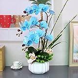 LSRHT Künstliche Blumen Orchidee Topfpflanzen blau Romantische Bouquet Ideal für Home Decor Zimmer Garten Party Hochzeit anzeigen
