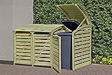 HOQ 64066022 Mülltonnenbox für 3 Tonnen 240 Liter aus KDI Holz Mülltonnenabtrennung