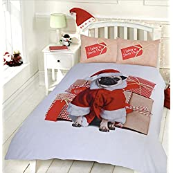 """Lujo de Navidad diseño de perro Pug """"reversible funda de edredón con funda de almohada juego de cama, suelto"""
