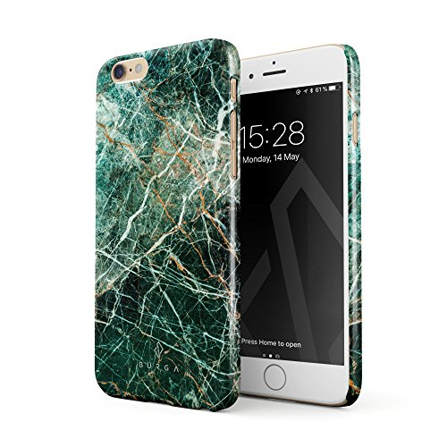 BURGA Hülle Kompatibel mit iPhone 6 Plus / 6s Plus Handy Huelle Grün Smaragd Juwel Marmor Muster Green Marble Dünn, Robuste Rückschale aus Kunststoff Handyhülle Schutz Case Cover
