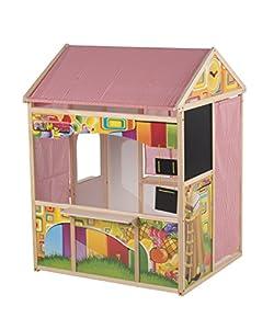 Marioneta de Madera 56388 Juguetes - Cobertizo Casa casa de Juegos para niños de Madera en Madera y Tela de la Tienda 90 X 84 X 119 CM