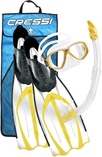 Cressi Pluma Bag, Premium Set per Snorkeling e Immersioni, Giallo, 45/46