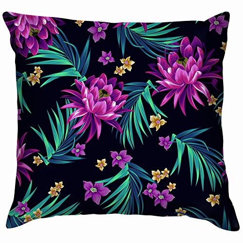 beautiful& Floral Tropical Allover Soft Cotton Linen Cushion Cover Pillowcases Throw Pillow Decor Pillow Case Home Decor 18X18 Inch (Club Pc Midnight)